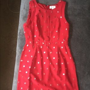 Elle red  polkadot sheath dress